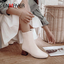 ENMAYER 2019 Women Shoes PU Zip  Motorcycle Boots Square Heel Winter Square Toe Ankle Boots for Women Short Plush Size 34-43 enmayla rhinestone bow winter boots women round toe zip square heel ankle boots for women pu solid string bead short plush pearl
