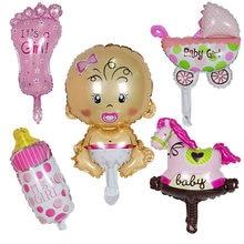 5 pçs mini chuveiro do bebê meninos meninas decorações do feriado balões folha carrinho de criança bolas hélio festa aniversário suprimentos ar globos deco