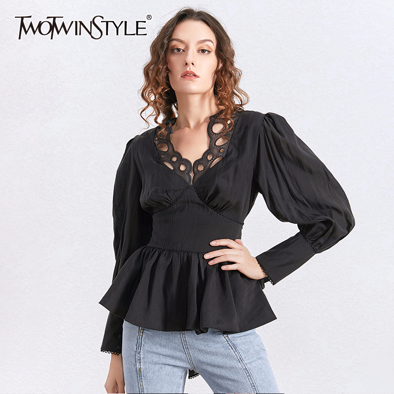 TWOTWINSTYLE Lace V Neck Tunic Tops Female Long Sleeve Lace Up Slim Blouse Shirt Women Black White Fashion Clothes 2020 Spring