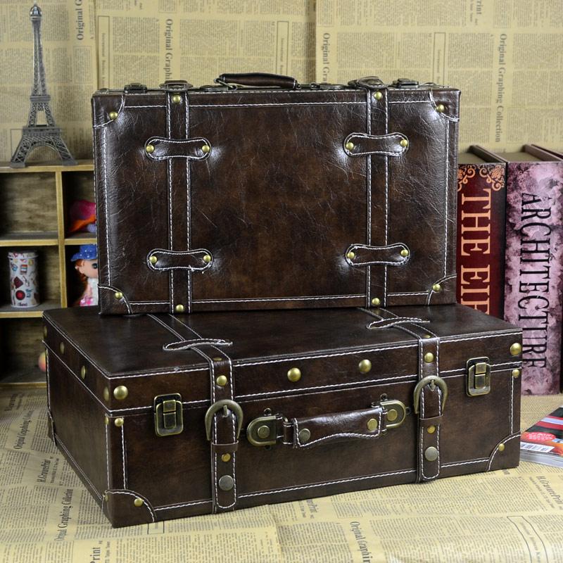 Leather Suitcase Box Vintage Valise