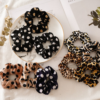 Leopard Dot Velvet Scrunchie Women Girls Elastic Hair Rubber Bands Crunchy Hair Ties Ponytail Holder Scrunchies Hair Accessories 20 pcs lot solid velvet hair scrunchies elastic hair ties bands women girls headwear ponytail holder korean hair accessories