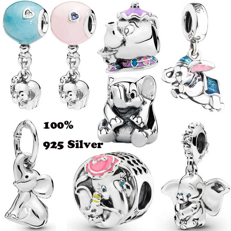 100% Real 925 Sterling Silver Dumbo Elephant Balloon Dangle Charm Enamel Fit Original Pandora European Bead Charms Bracelet