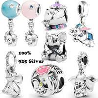 100% real 925 prata esterlina dumbo elefante balão balançar charme esmalte caber original pandora europeu grânulo encantos pulseira