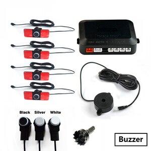 Image 3 - SINOVCLE Auto Parkplatz Sensor Set LED/LCD/Summer 4 Flache Umgekehrte Anzeige Parkplatz Sensor Kit 16mm 12V Backup Radar Monitor System