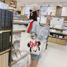 Disney nowa duża torba damska torba 2019 śliczna kreskówka myszka miki pojemna torba dziewczyna ramię płócienna torba torebki torebka zakupy tanie tanio cartoon 12-15 lat Dorośli 43x30x14cm Unisex Miękkie i pluszowe iedieij Pluszowe plecaki
