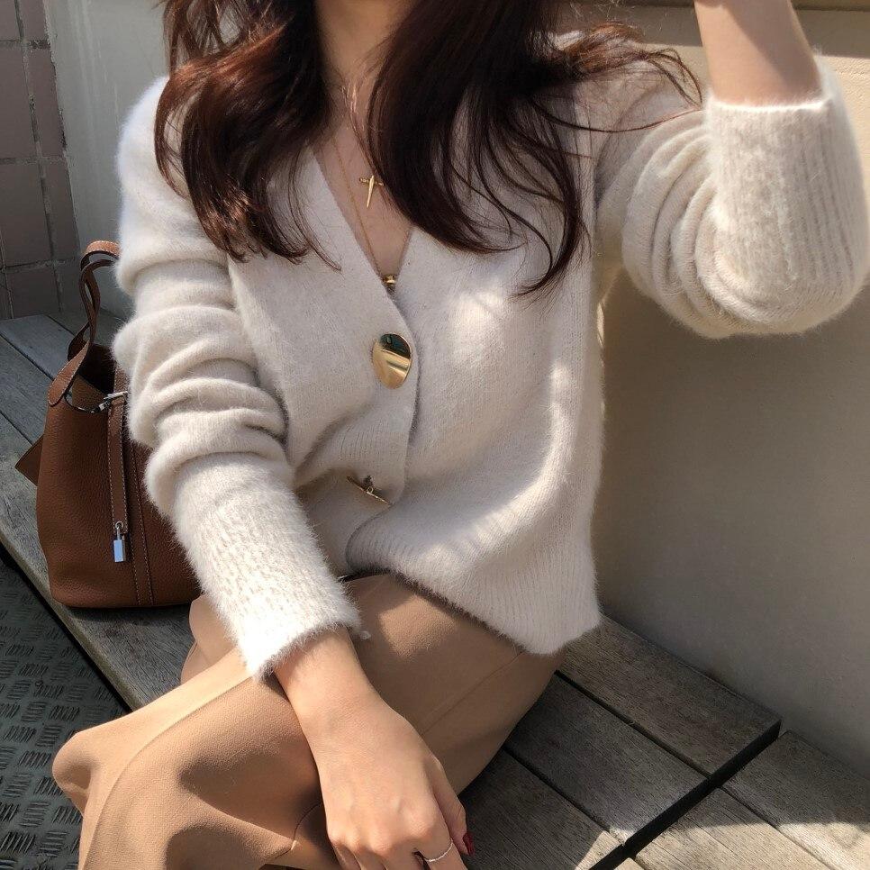 Femmes automne Hiver élégant Sexy col en V Cardigan Pull Femme à manches longues tricoté manteau Top noël Pull Femme Hiver