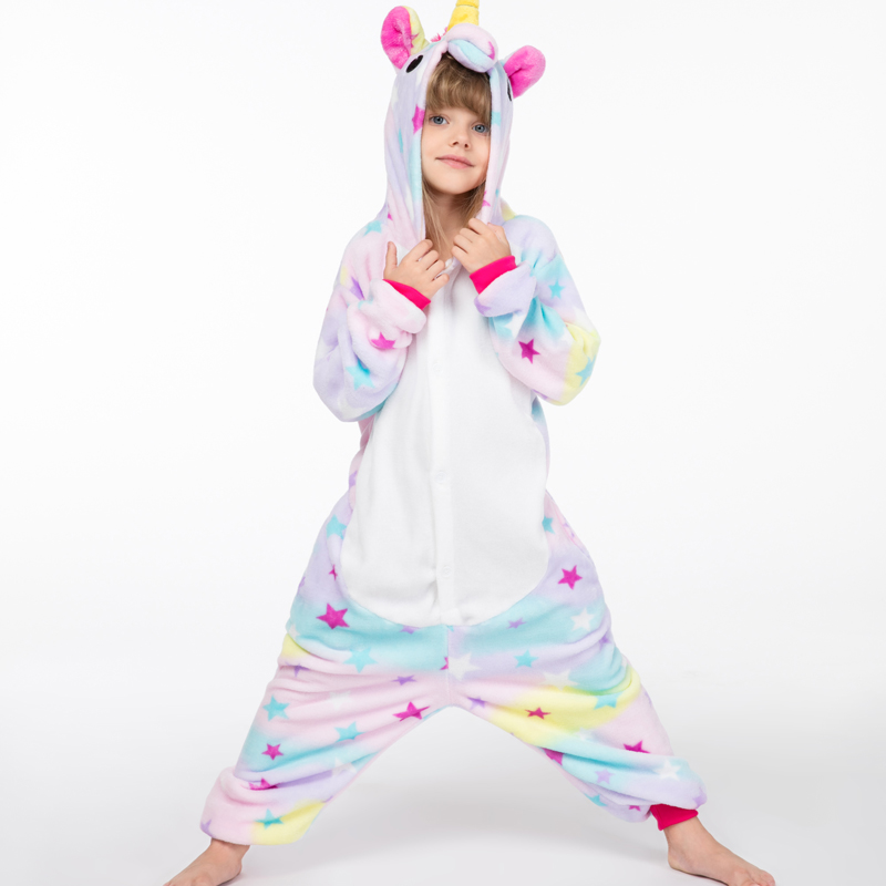 new girls overalls unicorn kids winter flannel pyjama licorne kigurumi enfant sleepwear onesie unicorn girl rainbow unicornio Платье