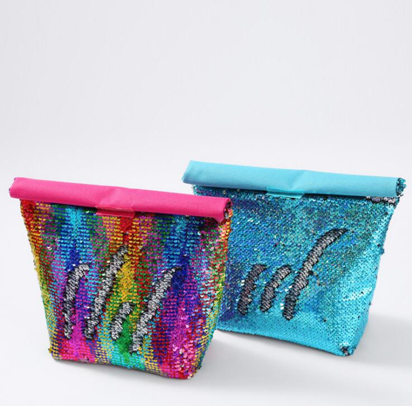 Fashion Sequins Insulated Bag Lunch Bag Aluminum Film Lunch Box Bag Outdoor Picnic Ice Pack Insulation Thermal Food Bag Woman