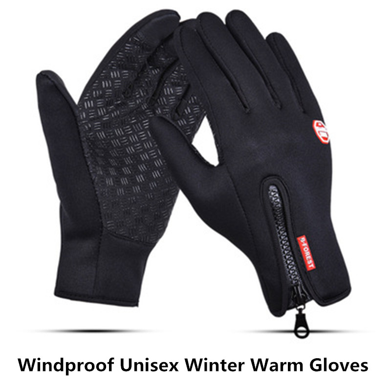 2PC Winter Warm Gloves Black Touch Screen Windproof Waterproof Outdoor Ski Sport