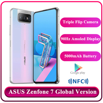 Купить Оригинальный Смартфон ASUS Zenfone 7, 8 RAM, 128 ROM, Snapdragon 865, 5000 мАч, NFC, Android Q, тройная откидная камера, глобальная версия 5G телефона