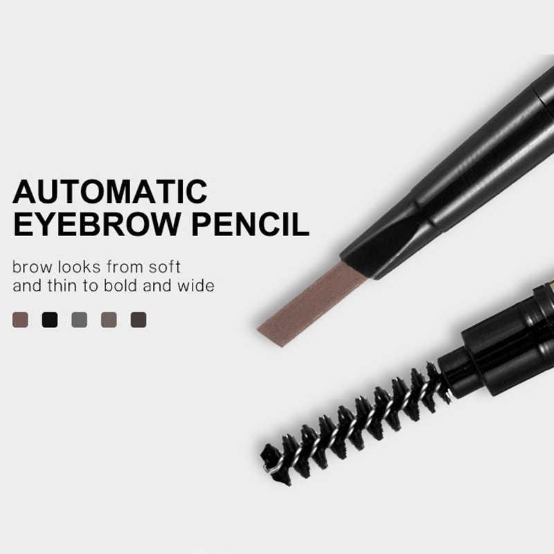 Kaş kalemi 5 renk çift kafa manuel rotasyon kaş kalemi su geçirmez dayanıklı makyaj değil çiçeklenme dövme boyalı kalem
