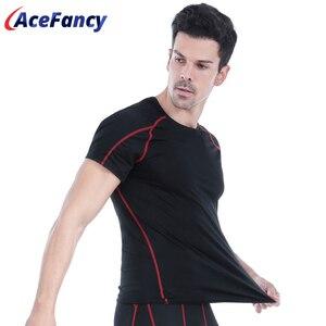 Image 1 - Acefancy 黒警官トップ圧縮ショート Leeve Tシャツためブルマストレッチトップス 71605 男性スポーツウェアジム服