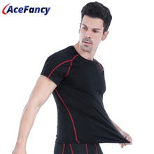 Acefancy שחור שוטר דחיסה העליונה קצר Leeve T חולצת ספורט לגברים מכנסי התעמלות נמתח חולצות 71605 זכר ספורטוויר כושר בגדים