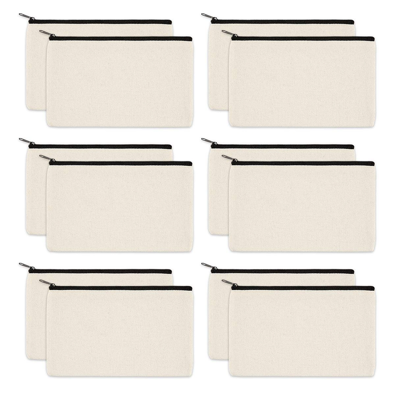 12 Pack Canvas Zipper Bags, Blank DIY Craft Pouches For Travel Cosmetic Makeup Bags, Pencil Case, Party Gift Bags, Coin Cash Pur
