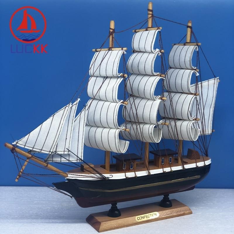 LUCKK 33CM Handmade Retro Nautical Wooden Miniatures Sailing Model Marine Classical Decor Room Party Home Figurine Wood Crafts