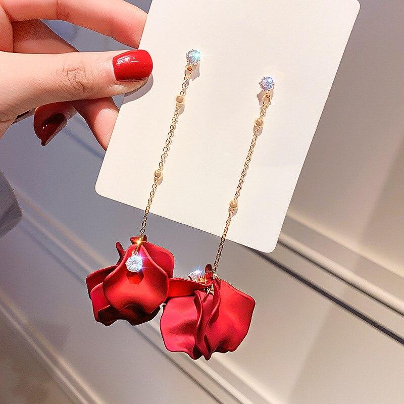 17 Styles Korean Trendy Long Pendant Earrings for Women Multicolor Petal Tassel Statement Earrings 2019 Fashion Jewelry Gift