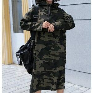Image 5 - Осеннее базовое платье с капюшоном, свитшоты, женские модные корейские камуфляжные толстовки, новая длинная верхняя одежда, повседневные пуловеры с разрезом