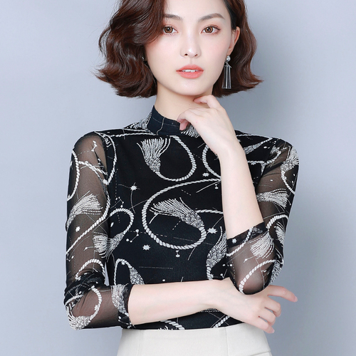 2019 Autumn New Fashion Type Stand Collar Printed Designs Female Blouse Black Elegant Comfortable Lady Bottoming Shirt Plus Size