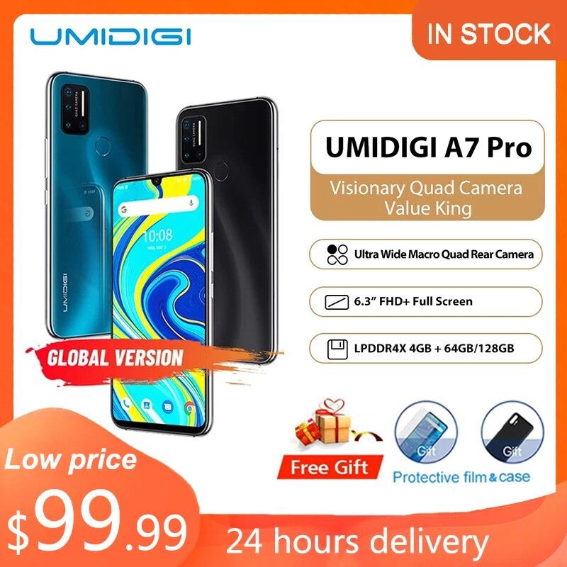 Original umidigi a7 pro smartphone android 10 celular indefinido 4g 64gb/128gb rom lpddr4x octa núcleo versão global telefones celulares