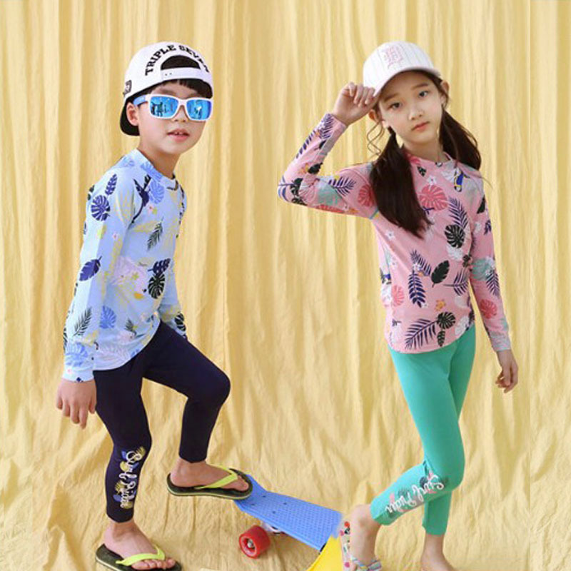 Men And Women Children Bathing Suit Trousers Split Type Swimwear Big Virgin Boy Long Sleeve Pants Sun Blocking Quick-Dry KID'S S
