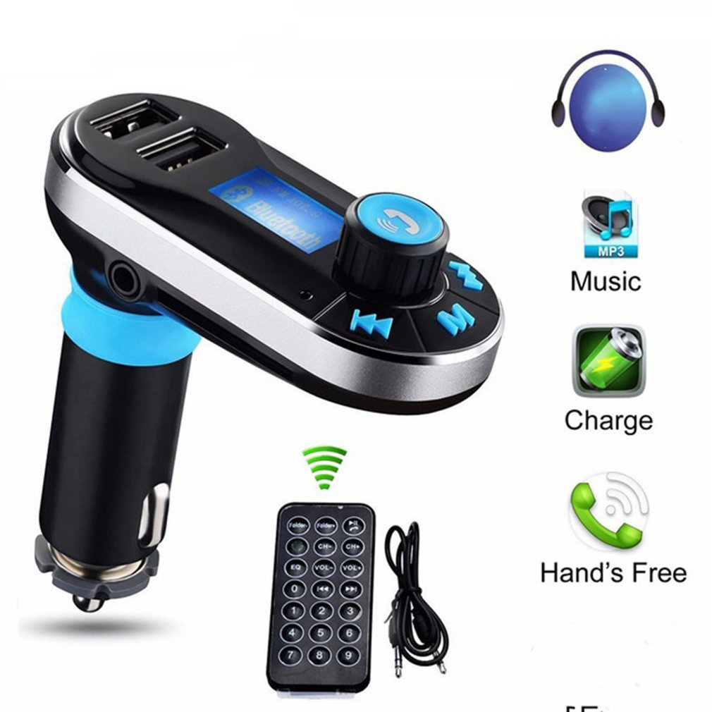 BT66 LCD Screen Vehicle Dual USB Car Charger Adapter Car Kit Bluetooth Converter MP3 Player FM Transmitter Hands-free Support SD