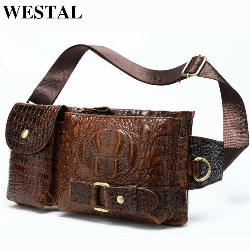 WESTAL Messenger Bag Men Leather Sling Bags For Phone Men's Shoulder Bags Men's Genuine Leather Bags Travel Chest Pack Male 9080