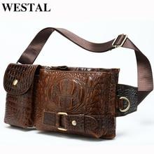 WESTAL Messenger Bag Men Leather Sling Bags for Phone Mens Shoulder Bags Mens Genuine Leather Bags Travel Chest Pack Male 9080