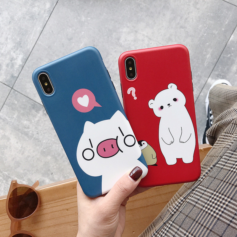 Cartoon brand pig penguin cute cases for iphone 8 6 s 7 plus Instagram matte silicone soft cover on coque iPhone xs max x xr