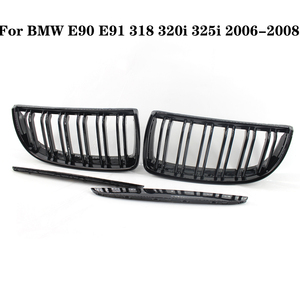 2pcs Car Dumb Black Front Kidney Grill Grilles For BMW E90 E91 318 320i 325i 330i 2006-2008 Auto Intake Grille