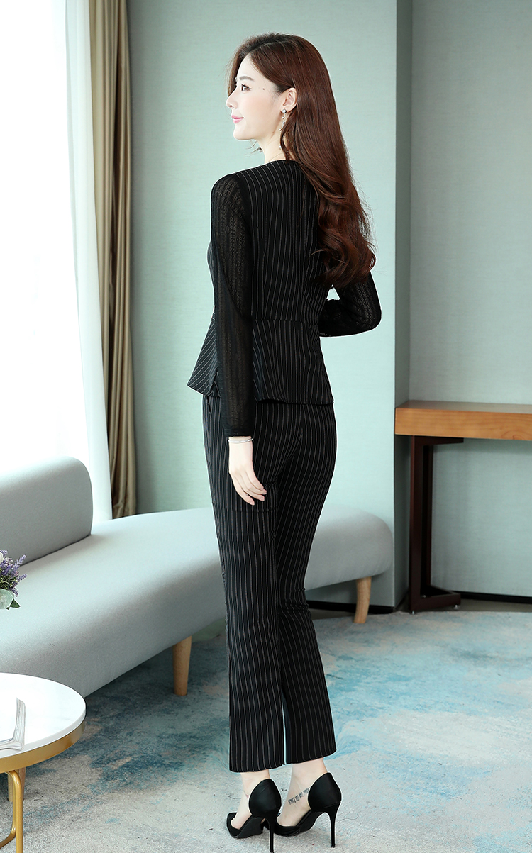 Black Striped Office Two Piece Sets Outfits Women Plus Size Long Hollow Tops And Pants Suits Elegant Korean Ol Style Sets 2020 39
