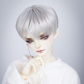 free shipping high quality synthetic dark brown short wavy bjd hair wig finished boy style wig 1 3 1 4 1 6 bjd dolls for choice modikerbjd Male Short Hair Wig for 1/3 1/4 BJD Dolls Boy - Silver White No Doll