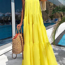 Women Sleeveless Tiered Stand Neck Long Casual Dress Solid Color Summer Beach Ho