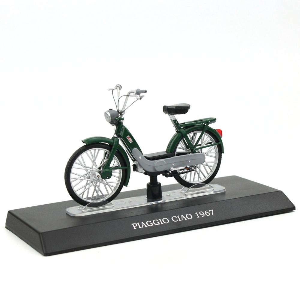 1/18  Piaggio Ciao 1967 Electric Bicycle Moto Guzzi  Alloy Model Toy Cars Gilera Trend Collection Bike Toys Car