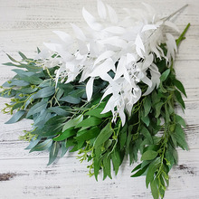 Simulation Bundle 5 Fork Artificial Leaves Large Eucalyptus Leaf Plant Wall Material Decorative Fake Plants For Party 2019 Hot