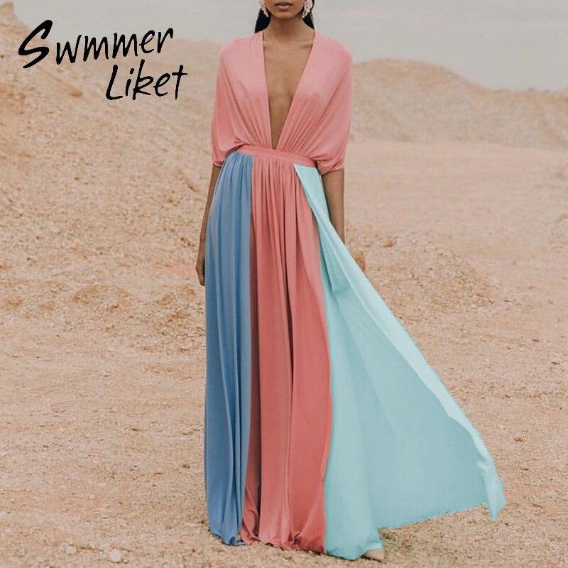 Sexy Patchwork Swimsuit Cover Ups Female 2020 Deep V Neck Dress Women Sarong Long Beachwear Cover Ups Summer Kaftan Bathing Suit