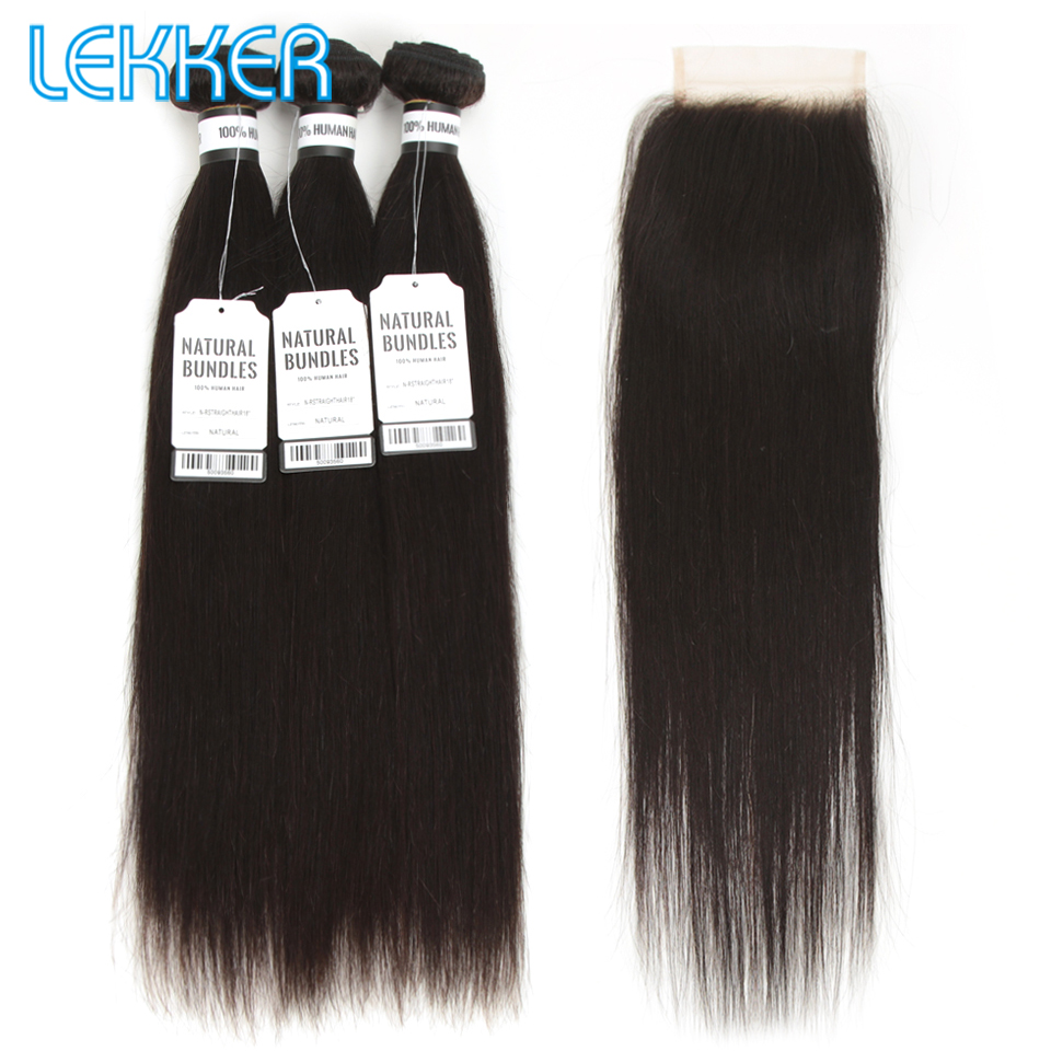 Lekker Hair Straight Bundles WIth Closure Peruvian Hair Weaves Pcs Remy Hair Bundles With Closure Natural Color