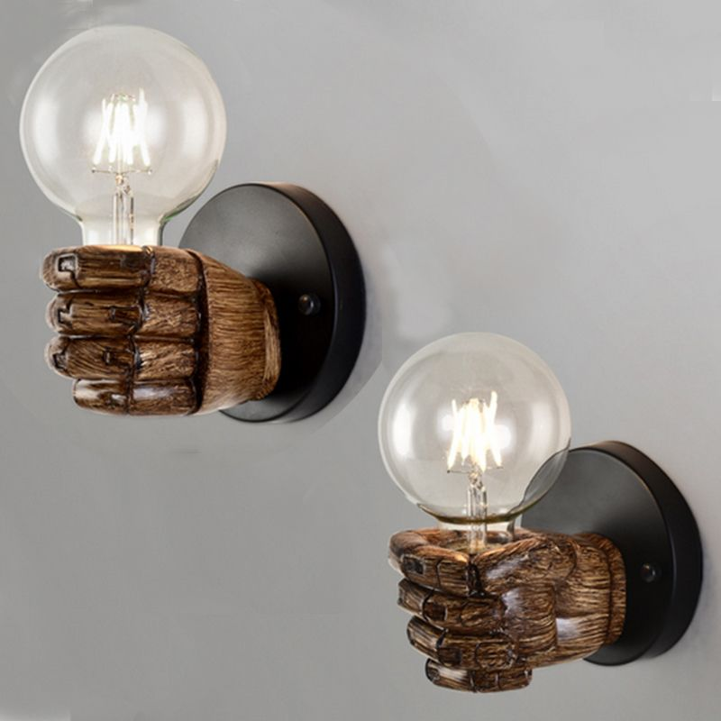Personality Fist Shape Wall Light Decoration Holder Resin Bedroom Retro Creative Wall Lamp Lighting Decoration Without Bulb