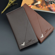 Men Wallet Long Section Thin Vertical Youth Soft 3 Fold Multi-card Position Large Capacity Fashion