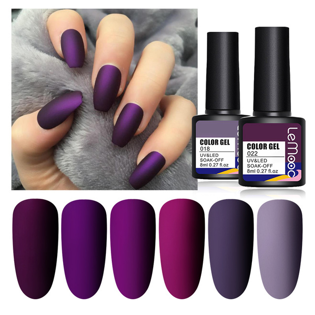 LEMOOC Nail Gel Polish Autumn Winter Color Varnishes Glitter Sequins Soak Off Semi Permanant UV LED Nail Art Hybrid Lacquers