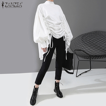 ZANZEA Stylish Spring Drawstring Pleated Shirt Women Long Puff Sleeve Blouse Casual Asymmetrical Tops Loose Solid Blusas Chemise