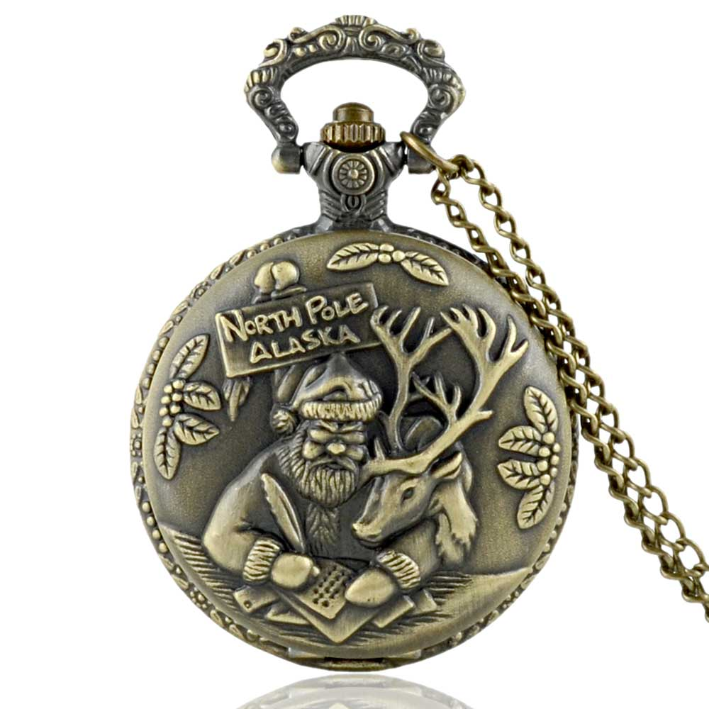 IBEINA Vintage Bronze North Pole Alaska Quartz Pocket Watch Men Women Santa Claus Pendant Necklace Clock Christmas Gift