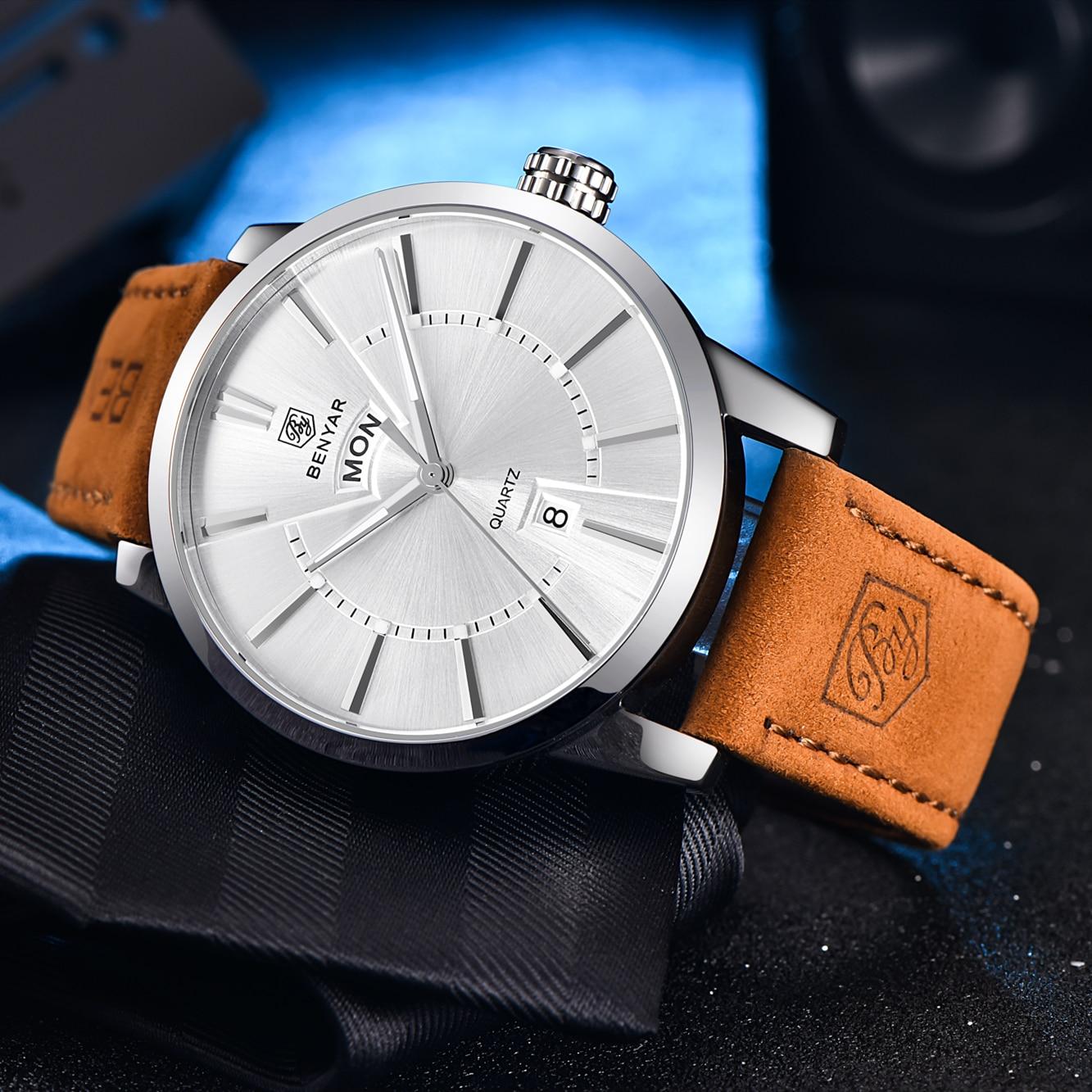 Image 5 - Relogio Masculino BENYAR Luxury Brand  Analog Display Date Mens Quartz Watch 30M Waterproof Genuine Leather Strap Casual Watchclock ipodwatch reportclock rugby -