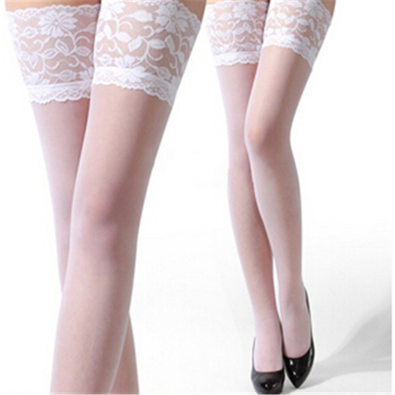 Sexy Long Stockings Womens Lace Top Silicon Strap Anti-skid Thigh High Over Knee Socks Nightclubs Hosiery Medias De Mujer 3