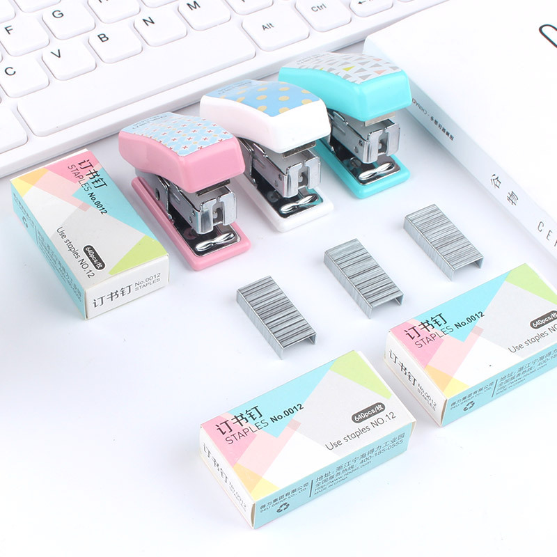 Deli Set Stapler Cute Cartoon Stapler Mini Small Stapler School Office Student Stationery Gift