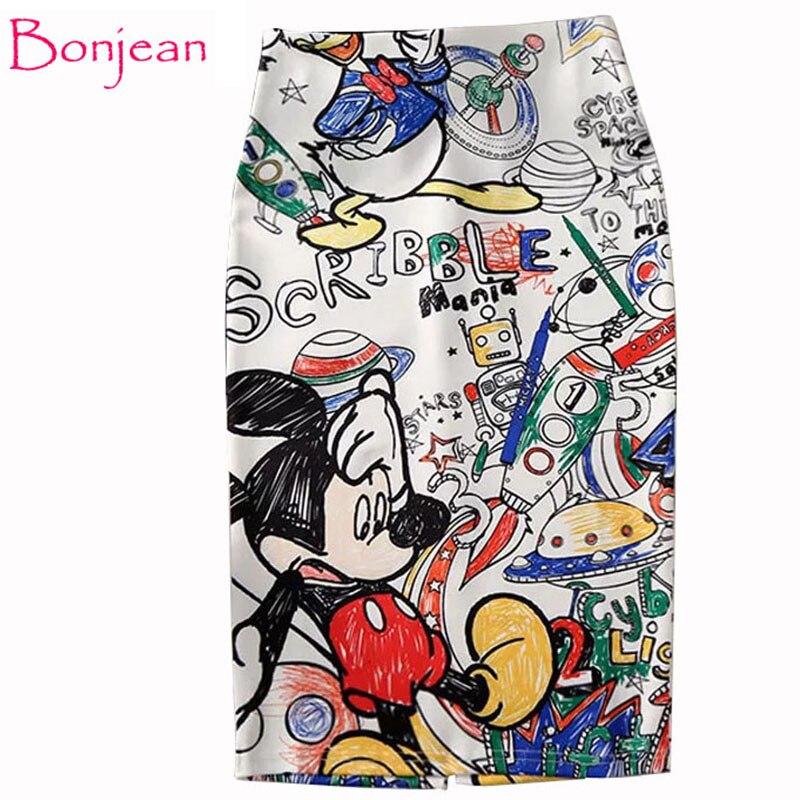 Women's Pencil Skirt New Cartoon Mouse Print High Waist Slim Skirts Young Girl Summer Large Size Japan Female Falda