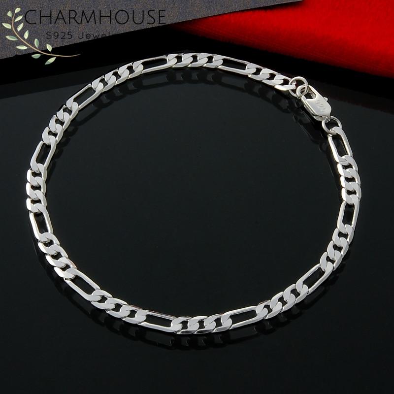 Charmhouse Bracelet Silver 925 4mm Figaro Chain Link Bracelets & Bangles Men Women Wristband Pulseira Wedding Jewelry Accessorie