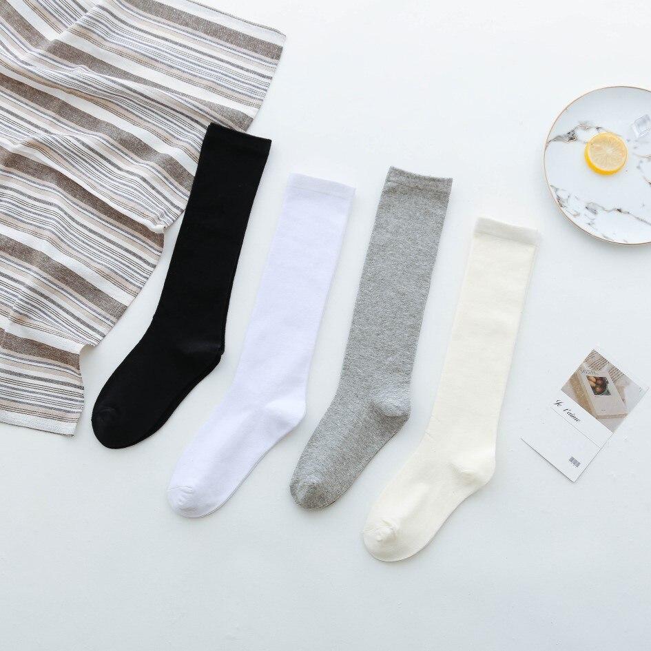 Japanese Solid Color Woman Calf Socks Long Black And White Kawaii Socks Women 50603