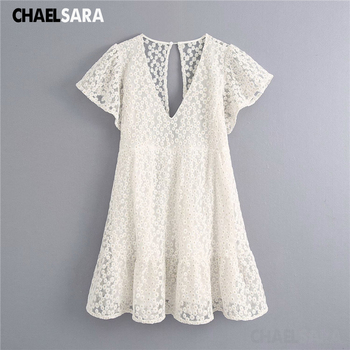 White Women Summer Beach Dress Embroidery Hollow Out Female Sexy V Neck A-Line Mini Dresses white v neck hollow out playsuit