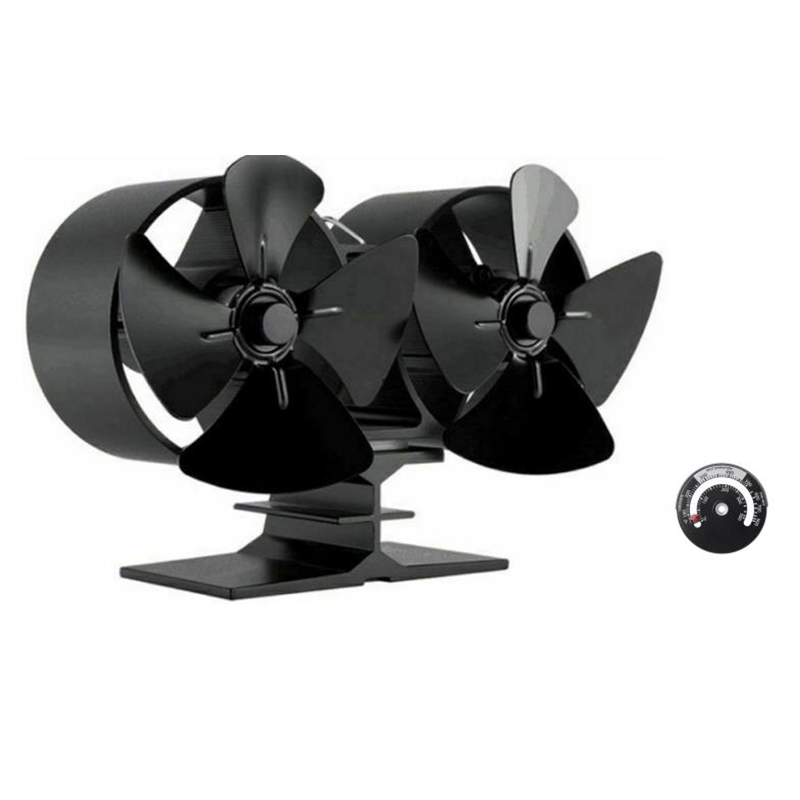 2pcs/Set Stove Fan Dual Burner Fireplace Fan Distribution Heat Powered 4 Blades