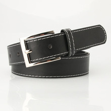 New Square Pin Buckles Belt Women Fashion Silver Buckle High Quality Leather Luxury Strap Retro Simple